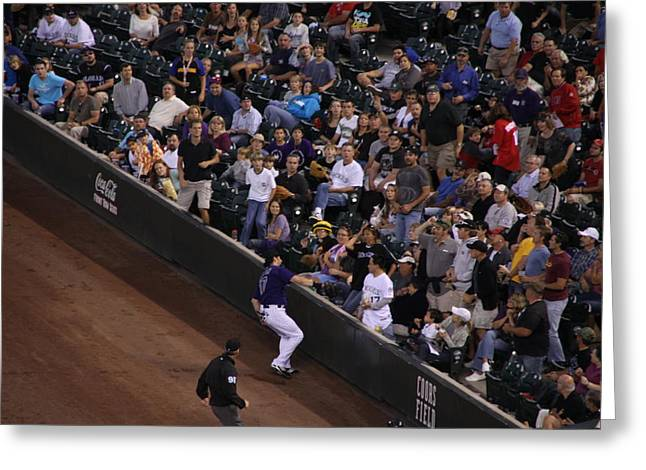 Todd Helton Greeting Cards - Into the Crowd Greeting Card by Cynthia  Cox Cottam