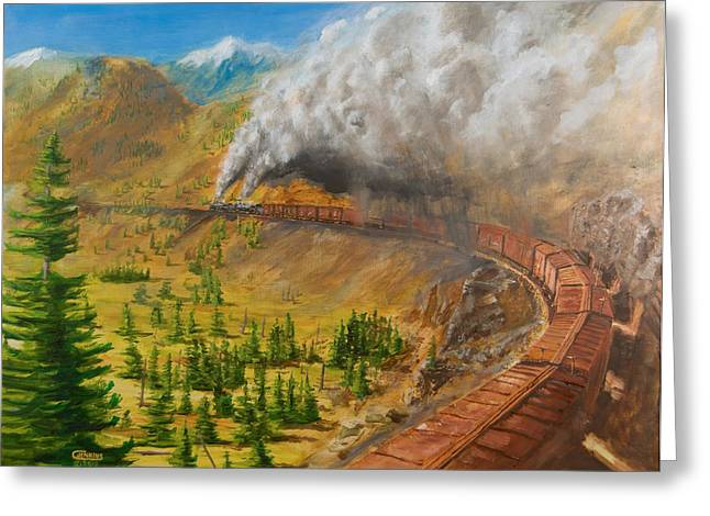 Freight Train Greeting Cards - Into the Front Range Greeting Card by Christopher Jenkins