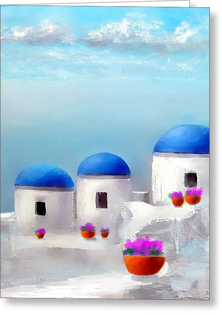 Into The Heavens Santorini Greeting Card by Larry Cirigliano