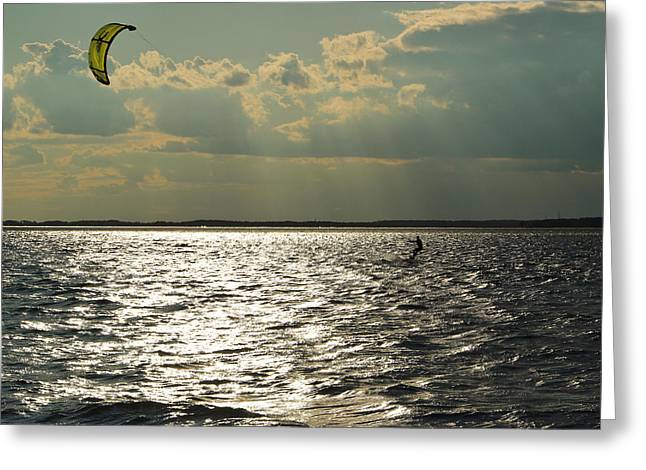 Recently Sold -  - Kite Boarding Greeting Cards - Into the Light Greeting Card by DK Hawk