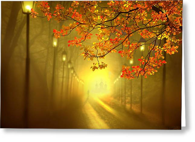 Lamp Post Mixed Media Greeting Cards - Into The Light Greeting Card by Igor Zenin