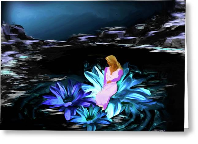 Floating Girl Greeting Cards - Into The Night Greeting Card by Darlene Bell