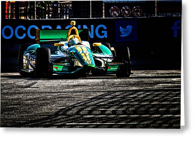Indy Car Greeting Cards - Into The Pit Greeting Card by Glenn Thompson