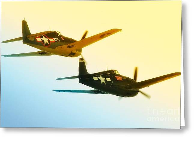 Planes Of Fame Greeting Cards - Into the Rising Sun Grumman F6F HellcatsChino Air Show Greeting Card by Gus McCrea