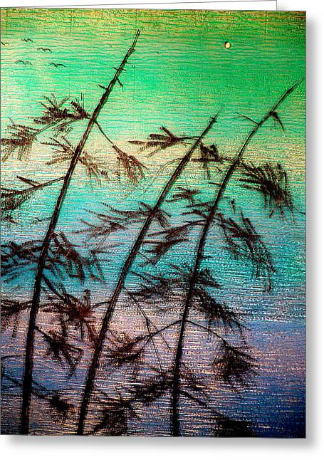 Ocean Landscape Glass Art Greeting Cards - Into the Wind Greeting Card by Rick Silas
