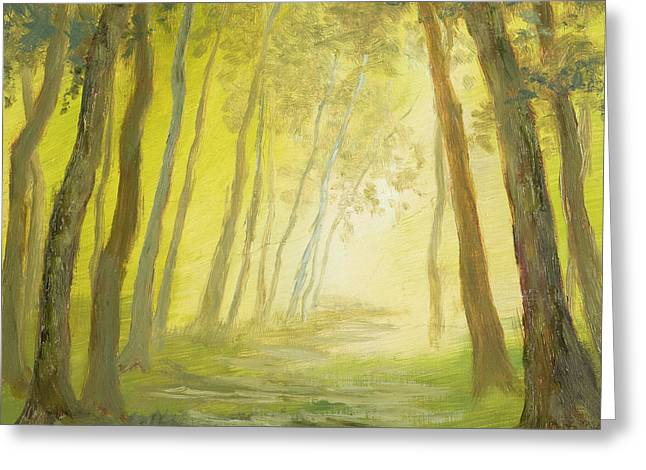 Into The Woods Mysterious On Gold Leaf Painting by Vic Mastis