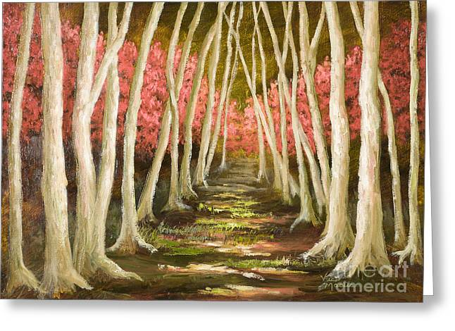 Mo Artist Paintings Greeting Cards - Into the Woods-Series with Gold Leaf by Vic Mastis Greeting Card by Vic  Mastis