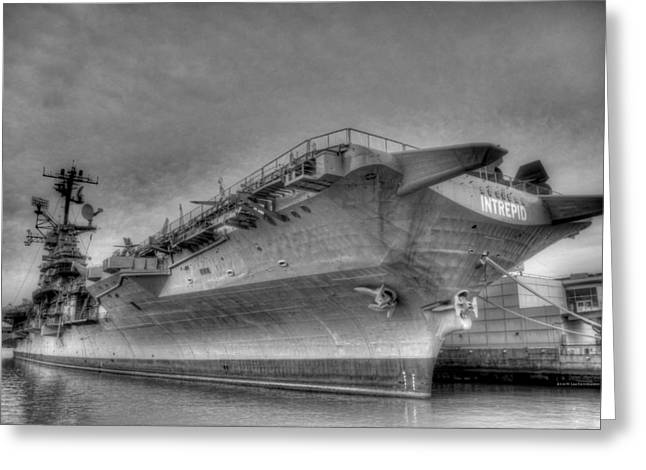Aircraft Carrier Greeting Cards - Intrepid Greeting Card by Johnny Lam