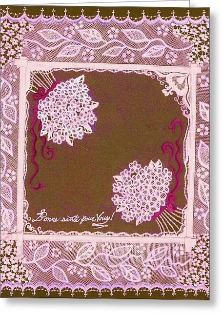 Vine Leaves Mixed Media Greeting Cards - Intricate Lace Hankie Greeting Card by Jenny Elaine