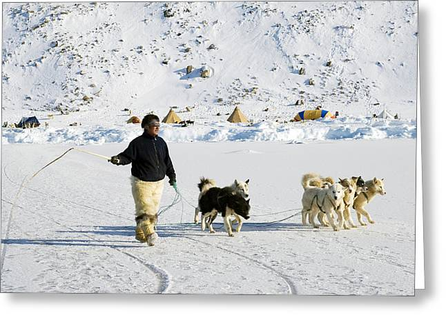 Husky Greeting Cards - Inuit With Dogs Greeting Card by Louise Murray