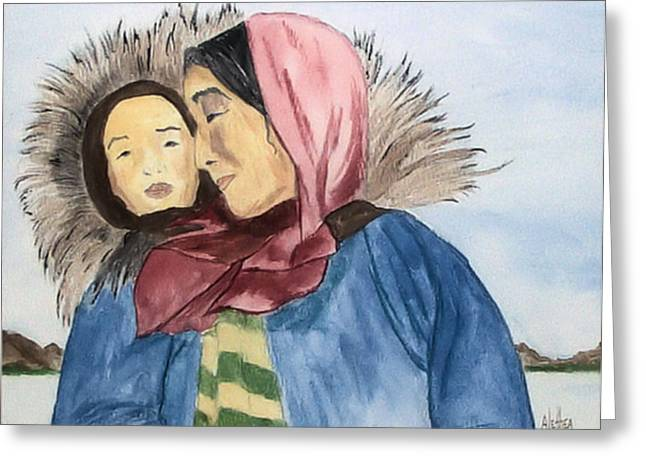 Inupiaq Eskimo Mother And Child Greeting Card by Alethea McKee