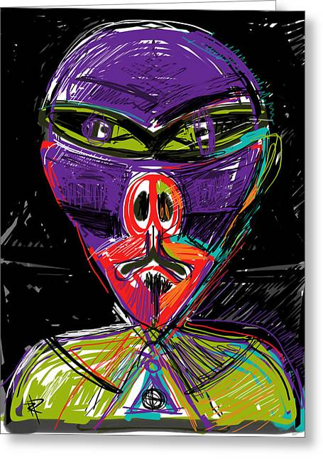 Comic Alien Greeting Cards - Invasion of the Pig Men Greeting Card by Russell Pierce
