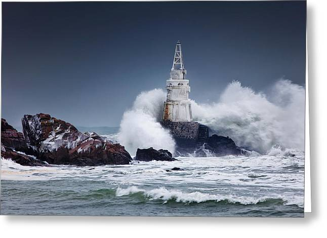Coastal Lighthouse Greeting Cards - Invincible Greeting Card by Evgeni Dinev