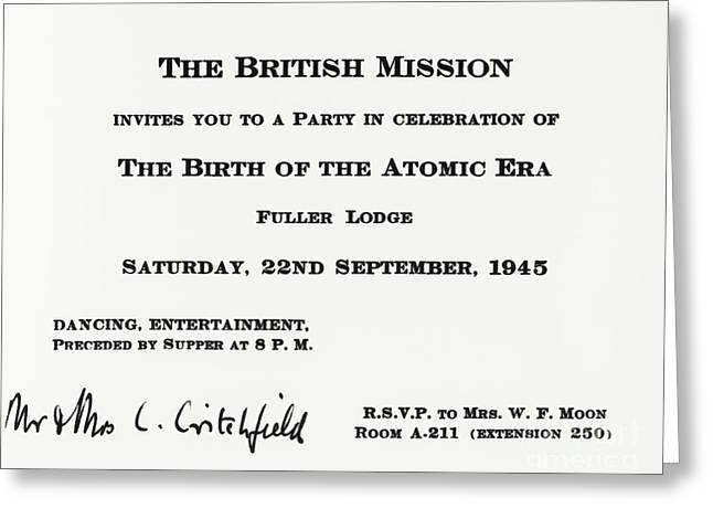 Atomic Bomb Greeting Cards - Invitation To British Mission Party Greeting Card by Los Alamos National Laboratory
