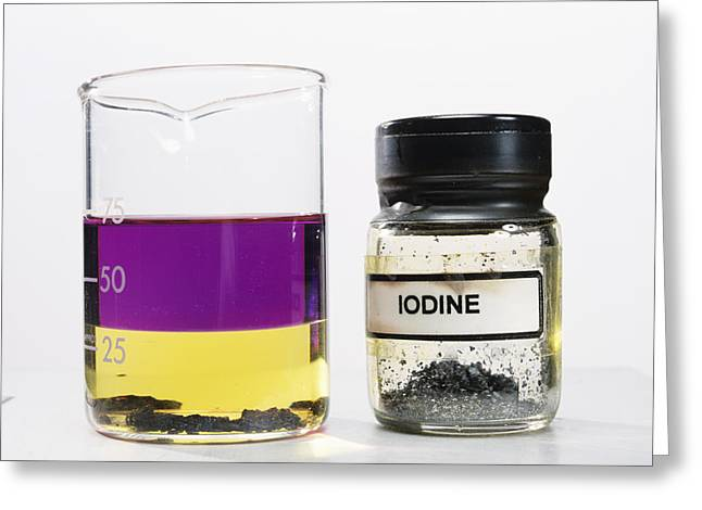 Water Jars Greeting Cards - Iodine Properties Greeting Card by Andrew Lambert Photography