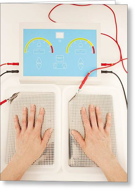 Electric Current Greeting Cards - Iontophoresis For Excess Sweating Greeting Card by