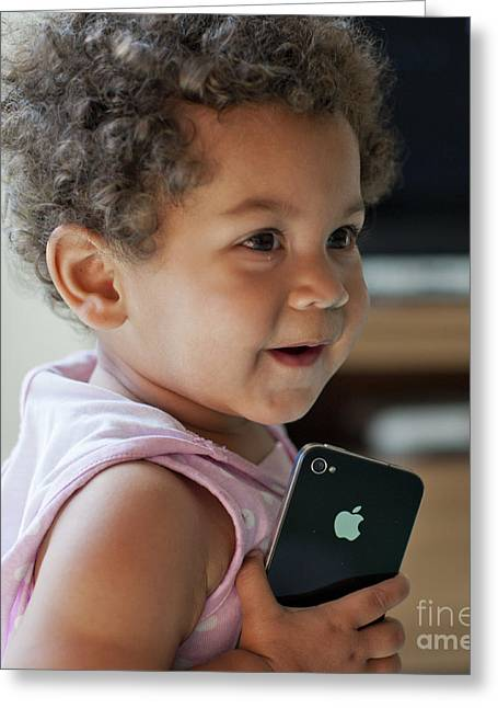 Granddaughter Greeting Cards - iPhone Crazy Greeting Card by Donald Davis