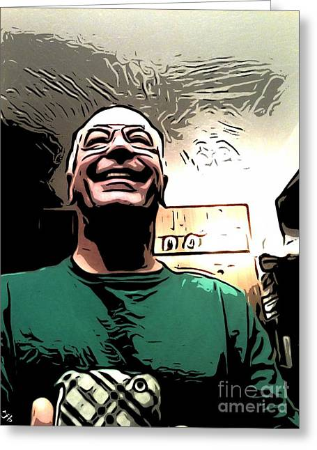 Self-portrait Greeting Cards - Iphone Me Greeting Card by Ron Bissett