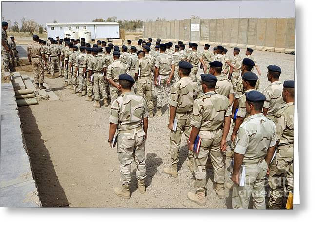 Iraq Photographs Greeting Cards - Iraqi Air Force College Cadets March Greeting Card by Stocktrek Images