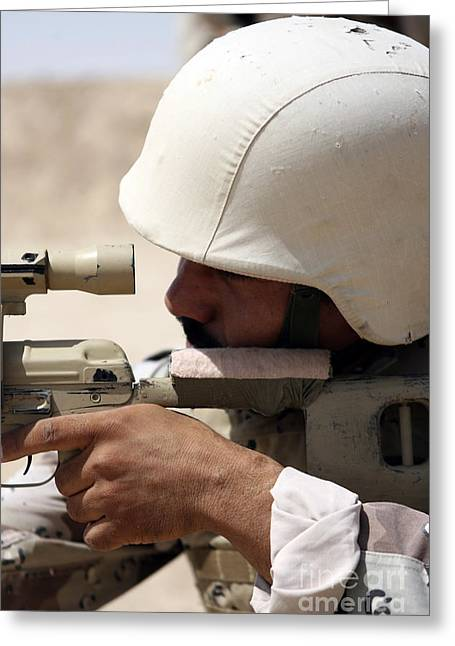 Marksman Greeting Cards - Iraqi Army Sergeant Sights Greeting Card by Stocktrek Images