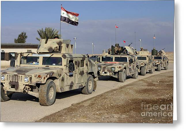 M1114 Greeting Cards - Iraqi Army Soldiers Aboard M1114 Humvee Greeting Card by Stocktrek Images