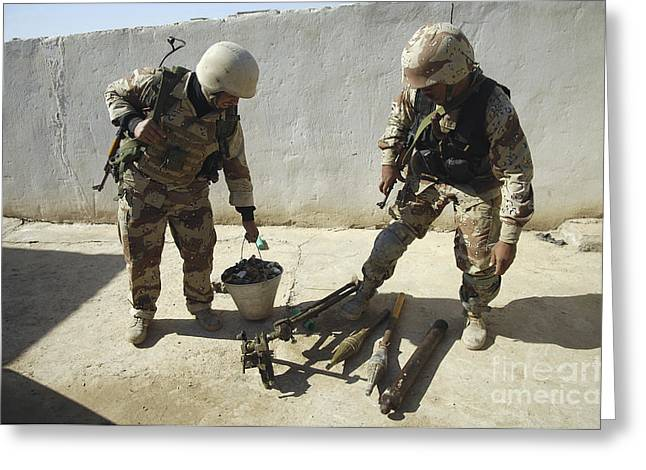 Iraqi Military Greeting Cards - Iraqi Army Soldiers Find A Weapons Greeting Card by Stocktrek Images