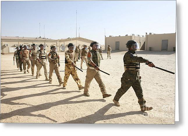 Iraqi Military Greeting Cards - Iraqi Army Soldiers March Greeting Card by Stocktrek Images