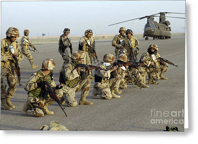 Operation Iraqi Freedom Greeting Cards - Iraqi Army Soldiers Rehearsing For An Greeting Card by Stocktrek Images