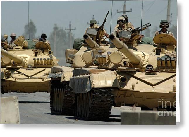 Checkpoint Greeting Cards - Iraqi Tanks Drive Through A Checkpoint Greeting Card by Stocktrek Images