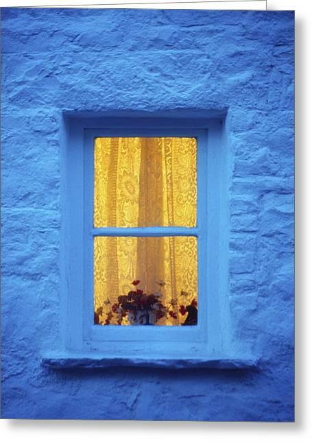 Cummins Greeting Cards - Ireland Cottage Window At Night Greeting Card by Richard Cummins