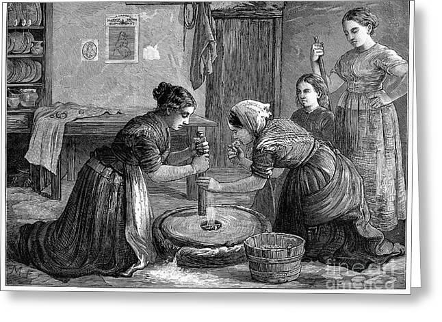 Millstone Greeting Cards - Ireland: Hand Mill, 1874 Greeting Card by Granger