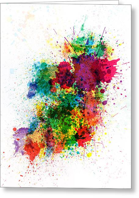 Cartography Digital Art Greeting Cards - Ireland Map Paint Splashes Greeting Card by Michael Tompsett