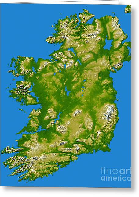 Relief Map Greeting Cards - Ireland Greeting Card by Stocktrek Images