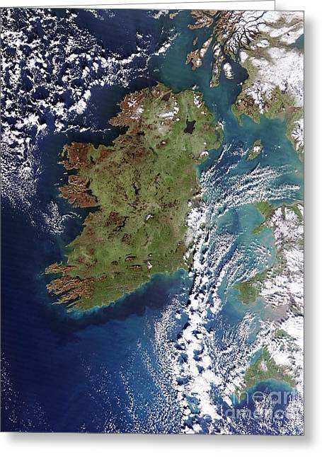 Neagh Greeting Cards - Ireland, True-color Terra Modis Greeting Card by NASA / Science Source