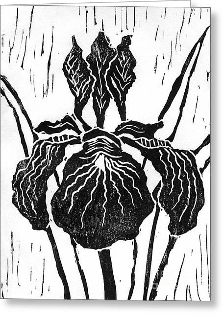 Linoleum Print Mixed Media Greeting Cards - Iris block print Greeting Card by Ellen Miffitt