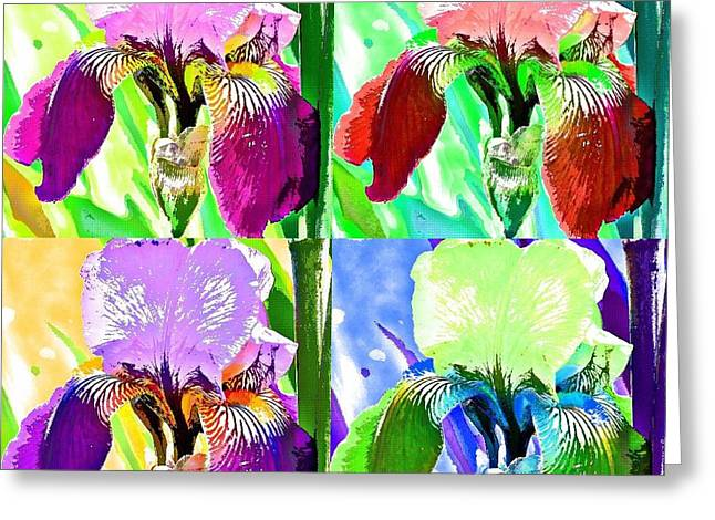 Iris Digital Art Greeting Cards - Iris Four Times Greeting Card by Fraida Gutovich