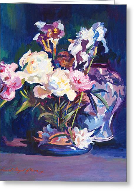 Floral Still Life Greeting Cards - Iris Peonies and Chinese Vase Greeting Card by David Lloyd Glover