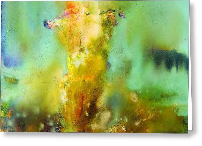 Iris Radiance Greeting Card by Petro Bevza
