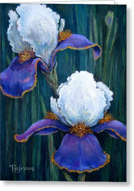 Purples Pastels Greeting Cards - Irises Greeting Card by Tanja Ware