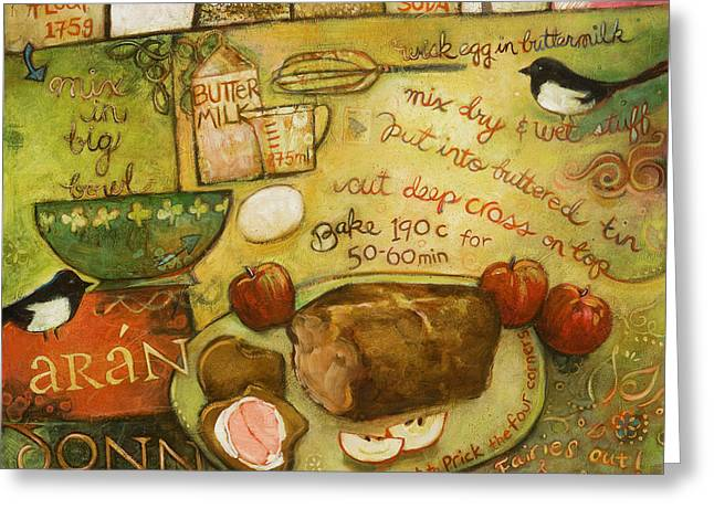 Food Art Paintings Greeting Cards - Irish Brown Bread Greeting Card by Jen Norton