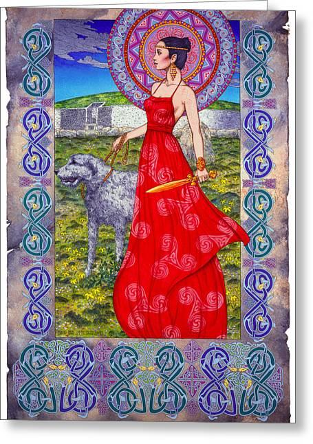 Warrior Goddess Greeting Cards - Irish Celtic Fantasy Art Print - Boann Bru Na Boinne Greeting Card by Jim FitzPatrick