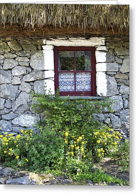 Thatch Greeting Cards - Irish Cottage Window County Clare Ireland Greeting Card by Teresa Mucha