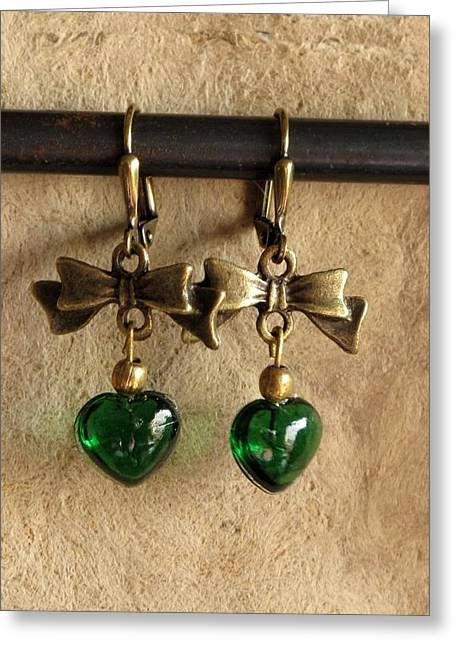 Gold Earrings Greeting Cards - Irish Hearts Greeting Card by Jan Brieger-Scranton