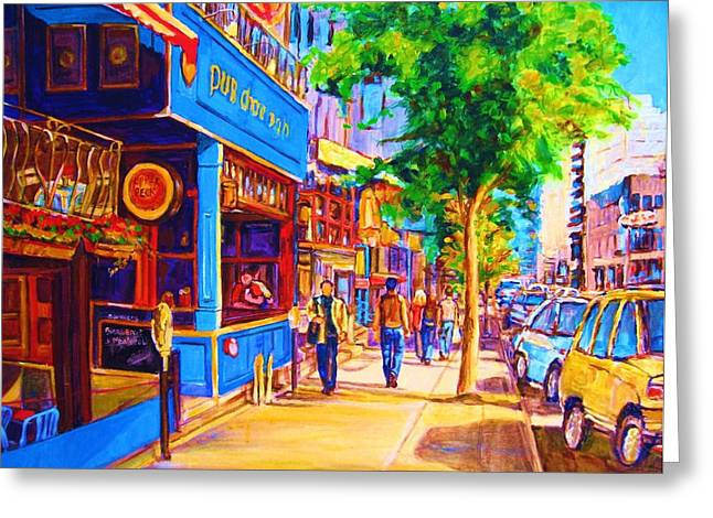 Dinner For Two Paintings Greeting Cards - Irish Pub on Crescent Street Greeting Card by Carole Spandau