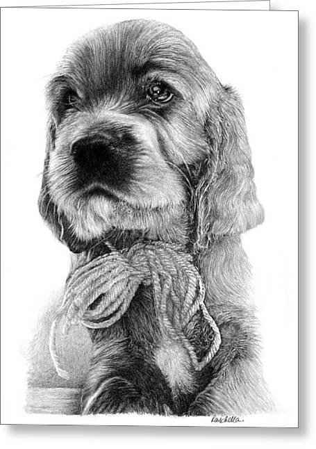 Rescue Drawings Greeting Cards - Irish Setter Puppy Greeting Card by Carole Raschella