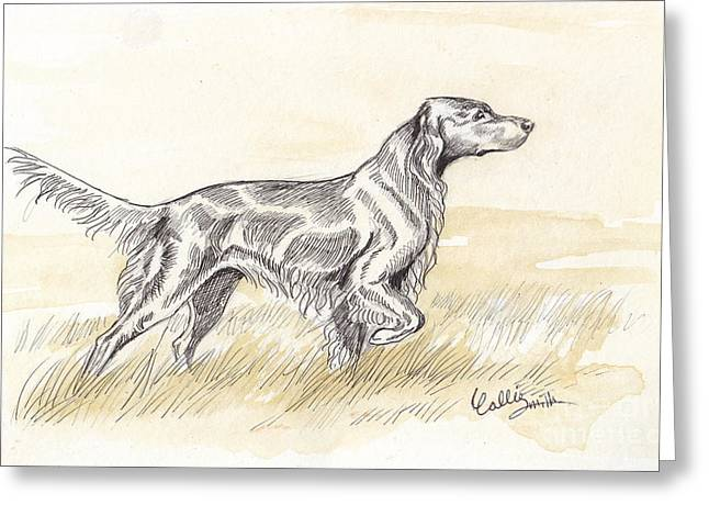 Setter Pointer Greeting Cards - Irish setter sketch Greeting Card by Callie Smith