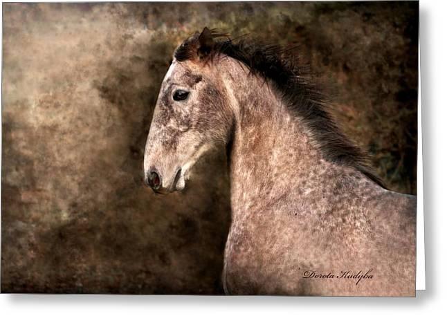 Horse Run Greeting Cards - Irish Sport Horse Greeting Card by Dorota Kudyba