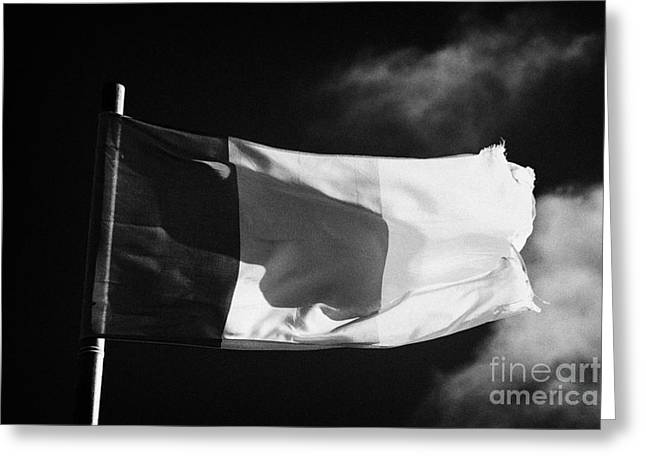 Fraying Greeting Cards - Irish Tricolour Flag With Frayed Edges Flying In Republic Of Ireland Greeting Card by Joe Fox