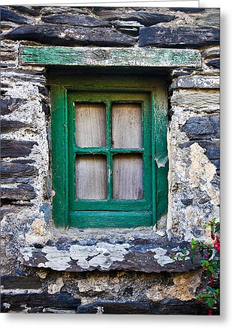 Colored Stones Greeting Cards - Irish window Greeting Card by Patrick  Flynn