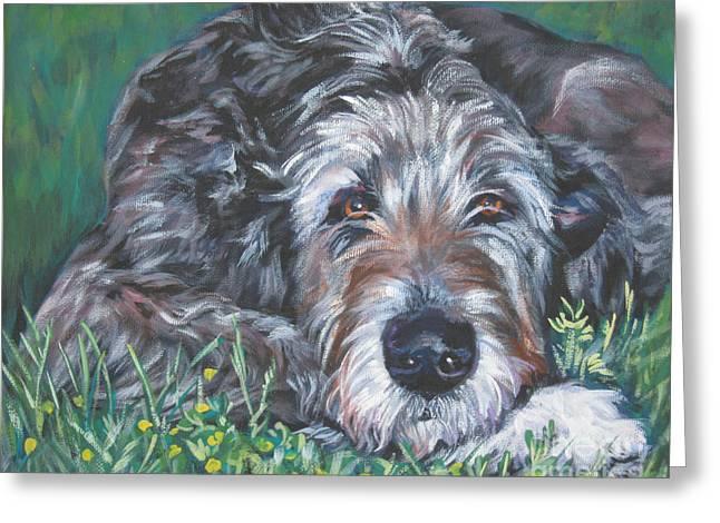 Shepard Greeting Cards - Irish wolfhound Greeting Card by Lee Ann Shepard